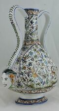 PORTUGAL ART POTTERY AMPHORA VASE 17 CENTURY ANTIQUE REPRO ANIMALS MASK BIRDS