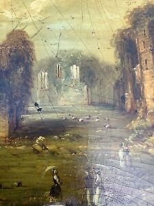 1700's ORIGINAL ANTIQUE VICTORIAN  EUROPEAN / ENGLISH FACE SCREEN PAINTING