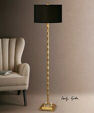 "NEW 65"" ANTIQUED GOLD METAL BAMBOO STYLE FLOOR LAMP CRYSTAL ACCENT BLACK SHADE"