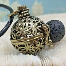 Vintage Brass Butterfly Aromatherapy diffuser Necklace Essential Oil Black Lava