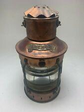 NAUTICAL COLLECTIBLE GENUINE ANCHOR BRAND MARITIME COPPER BRASS OIL LAMP LANTERN
