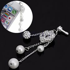 3.5mm Bling Heart Anti Dust Earphone Plug Cap Stopper For iPhone 6S Samsung HTC