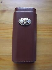 Brown Leather Cedar Lined 3 Cigar Case with Silver & Gold Plated Golf Club