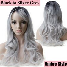 Pastel Ombre Cosplay Hair Wig Women Long Curly Straight Full Wig Party Costume @
