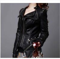 Womens Spike Studded Motorcycle Rock Punk PU Leather Coat Jacket Plus Size Z44