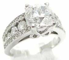 3CT CUSHION CUT & ROUND CUT ANTIQUE STYLE DIAMOND ENGAGEMENT RING C19