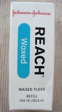 Johnson and Johnson Waxed Dental Floss Reach 200 yd spool refill NIP UNFLAVORED