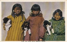 Postcard Six Little Arctic Natives Holding Puppies Alaska AK
