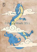 China Japan DRAGON Cloud tattoo Asiatic art ACEO print painting Brandy Woods