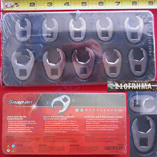 "New Snap On 3/8"" Metric Flare Nut Crowfoot Wrench 10 Piece Set - 210FRHMA - USA"
