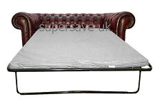 Traditional Leather Chesterfield Two Seater Sofa Bed Antique Oxblood Red