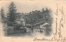 BRANTOME vue prise du pont des barris timbre noir 1900