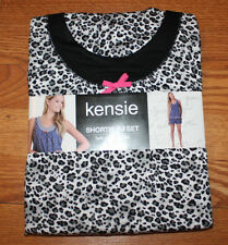 NWT KENSIE 2 Piece Black White Animal Tank Shorts Pajama Sleepwear Set M 10-12
