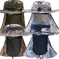 c1e8f2bd372 Camo Wide Brim Boonie Hat Quick Drying Outdoor Fishing Sun Mask Cap Bucket  Hat