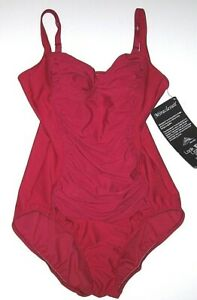 Nwt New Miraclesuit Ruched 1-Piece Swimsuit Slimming 10 lbs Ruby Red $158 Women