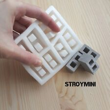 Silicone mold form for 8 miniature cinder blocks 1:12