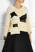 NEW JUNYA WATANABE Comme des Garcons Ivory Cable Knit Wool Patchwork Sweater M