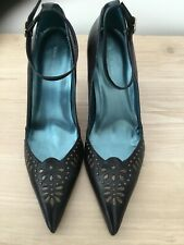 River Island Black Leather Ankle Strap Studded Shoes Size UK 6 EU 39  BRAND NEW