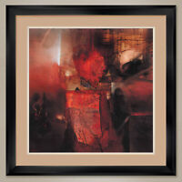 """35W""""x35H"""": BURNING HEART by FAUSTO MINESTRINI - DOUBLE MATTE, GLASS and FRAME"""