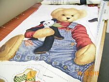 Blue Jean Teddy Wall Hanging 1395 DK  100%  Cotton Fabric by the panel Springs