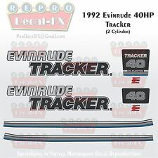 1992 Evinrude 40 HP Tracker Outboard Reproduction 8 Piece Marine Vinyl Decals