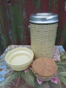 Vintage Wide Mouth Food Thermos Flask Original Cork Stopper & Bowl.