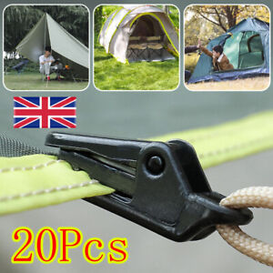 20 PCS Awning Tarp Clips Set Tent Clamp Buckle Heavy Duty Camping Tool Black