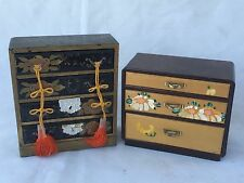 (2) Vtg Oriental Wood 3 & 4 Drawer Dresser Ring Jewelry Box Case Storage Asian