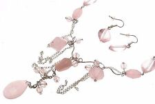 Beaded Necklace And Earrings Pink Bead Necklace Pink Jewellery AW42