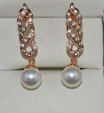 Lovely 18k/18ct Yellow Gold Filled 8mm Pearl & White Sapphire Drop Stud Earrings