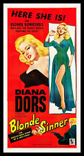 BLONDE SINNER * CineMasterpieces ORIGINAL MOVIE POSTER DIANA DORS BAD GIRL 1956