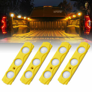Xprite Amber 4PC 12 LED Strip Pod Panel Off Road Under Body Rock Lights