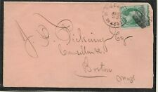 US  Aug/30/ 1872  cover with #147 error-Stamp perforation shifted 美 邮