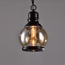 Retro LED Lamp Chandeliers Amber Glass Pendant Handelier Lights Kitchen Fixtures