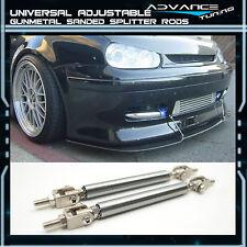Universal Gun Metal Sanded Front Bumper Splitter Rods Support Adjustable 5.5-8