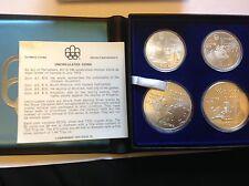 Canadá 1976 Juegos Olímpicos de Montreal a prueba de plata esterlina .925 Conjunto de 4 monedas