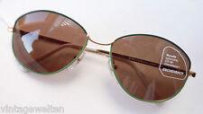 Marken Sonnenbrille Eschenbach dünner Rand grün gold Gläser braun 100% UV Gr. L