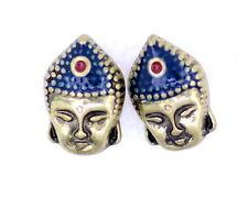 Vintage Retro estilo bronce Buda pendientes de botón cabeza