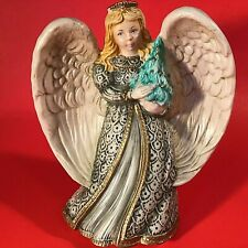Angel & Christmas Tree Figurine Hand Decorated 8 Inch Gold Accent Girl Robe