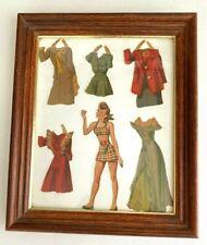 Enmarcado Cut-out 1940s era adolescente Nancy papel muñeca & 5 conjuntos prendas Armario