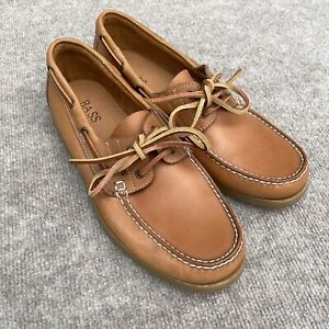 Bass Seafarer Top Siders Men's 10.5 Tan Boat Shoes Leather Lace Up 2 Eyelet NEW