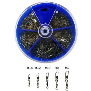 50pcs Barrel Rolling Fishing Swivel With Safety Snap Fishing Tackle Connector