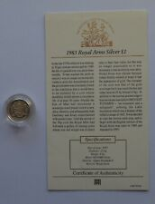 More details for 1983 royal mint the royal arms silver proof one pound £1 coin coa