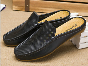 Men Casual Slip On Mules Slippers Mesh Hollow Round Toes Loafers Sandals Shoes