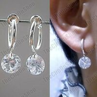 CLIP ON 8mm CZ EARRINGS cubic zirconia SILVER PLATED cut crystal mini hoops