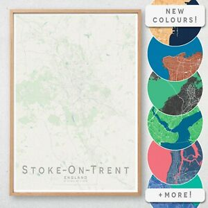 STOKE ON TRENT Map Print, England Wall Art Poster City Map Wall Decor A3 A2 A1