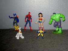 lot Figurines Hulk/Volverine/Spiderman/Wonder Woman/Chien héros/Batgirls