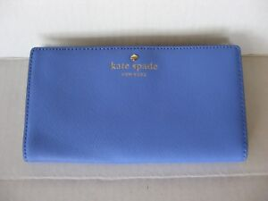 NEW NWT Kate Spade Mikas Pond Stacy Bifold Leather Wallet Blue (Delphinium)
