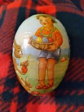 Vintage German Paper Mache Easter Egg Candy Container Girl- Bunnies & Eggs- Cute