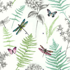 ARTHOUSE GREEN BOTANICAL DRAGONFLY GLITTER LUXURY TEXTURED  WALLPAPER 669704